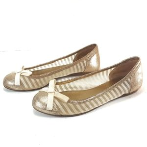 Kate Spade Gold Metallic Crackle Leather Flats